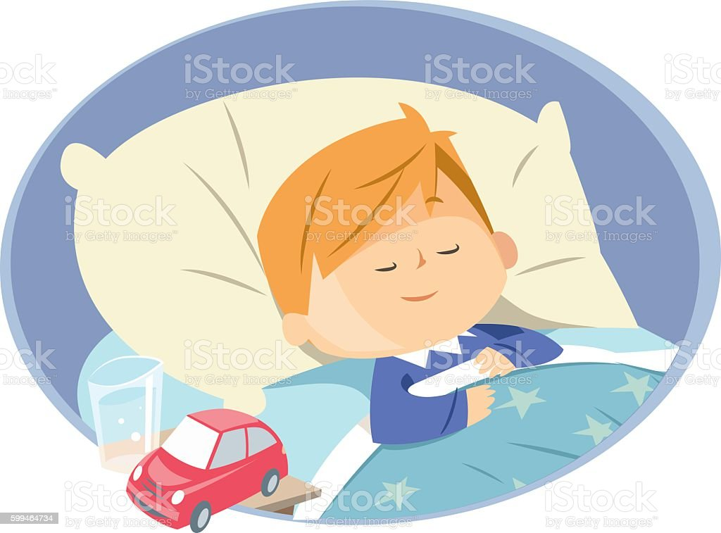 Boy sleeping vector art illustration