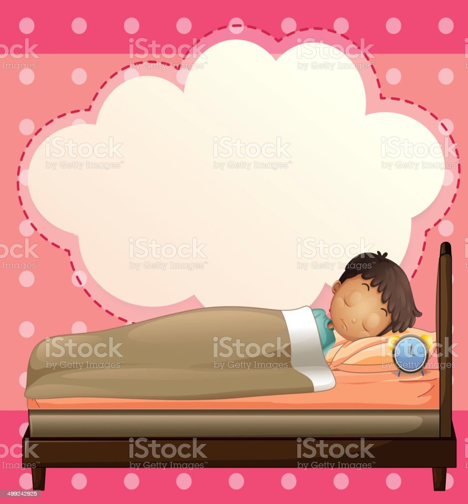 Boy sleeping with an empty callout template royalty-free stock vector art