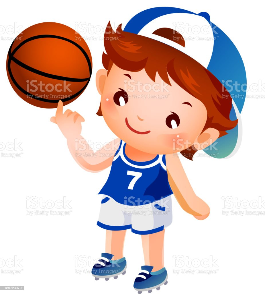 Boy spinning basketball on finger royalty-free stock vector art