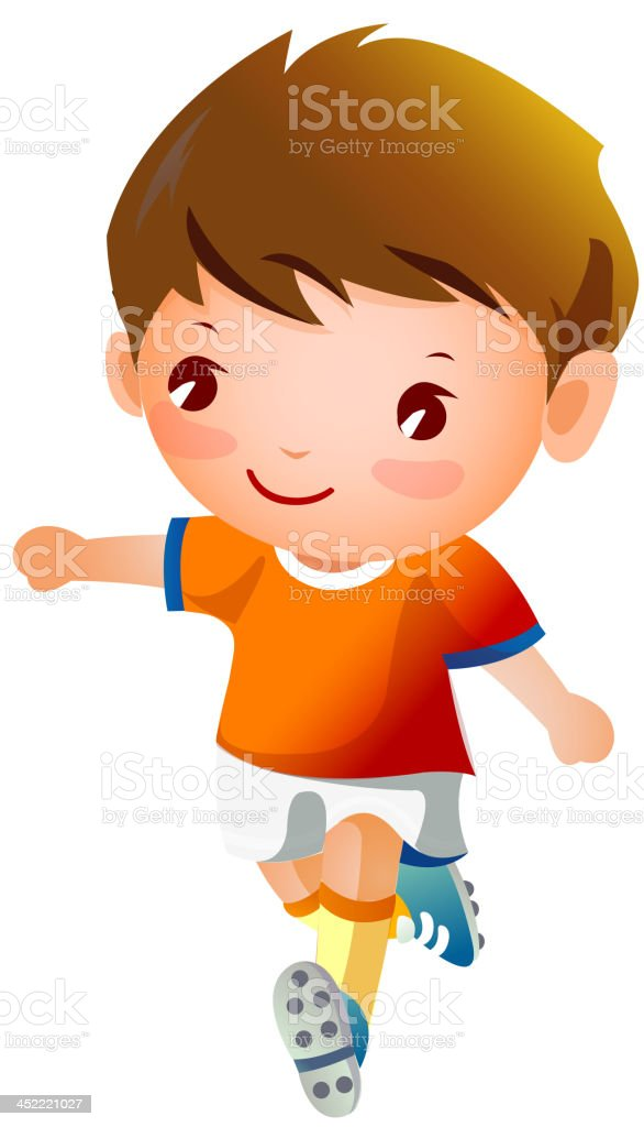 Boy sport player running royalty-free stock vector art