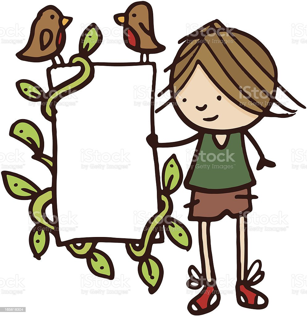 Boy stood next to a blank poster royalty-free stock vector art