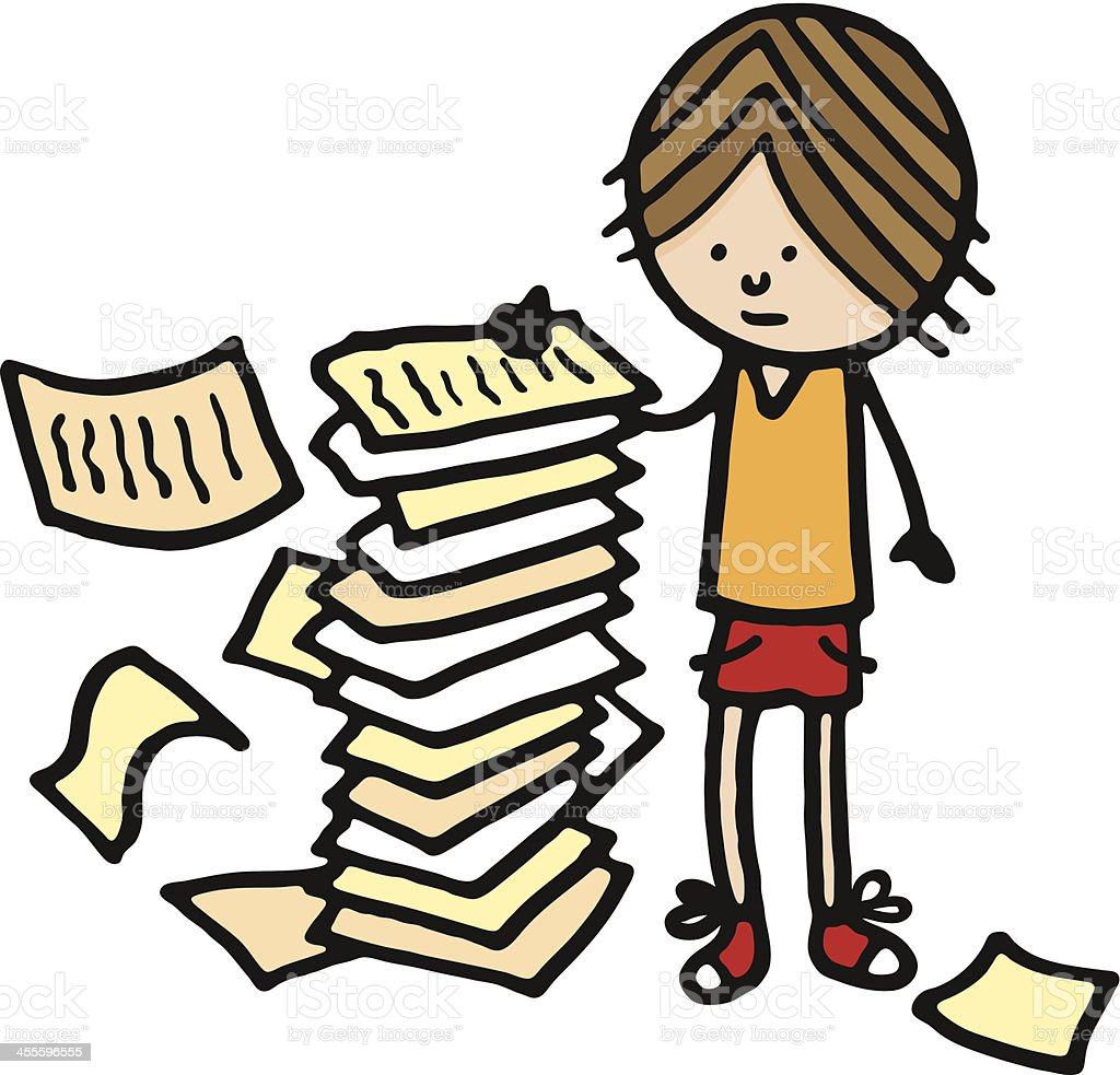 Boy stood next to a large pile of paper royalty-free stock vector art