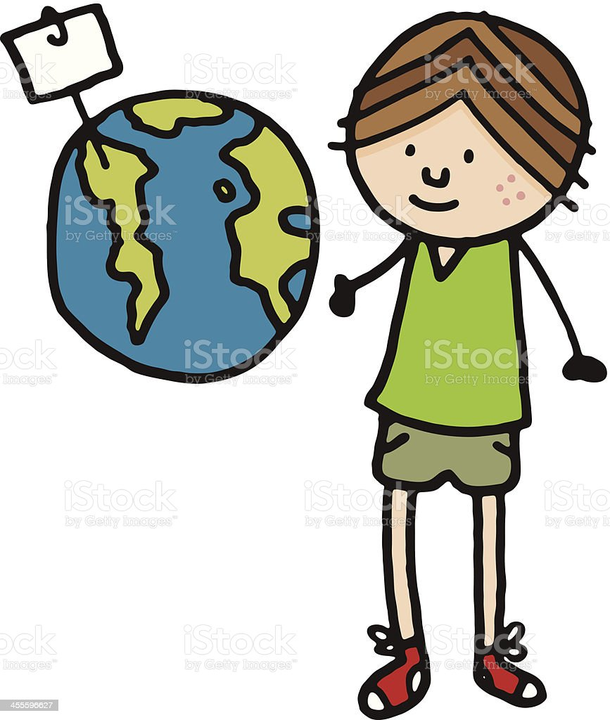 Boy stood next to planet earth with blank sign royalty-free stock vector art