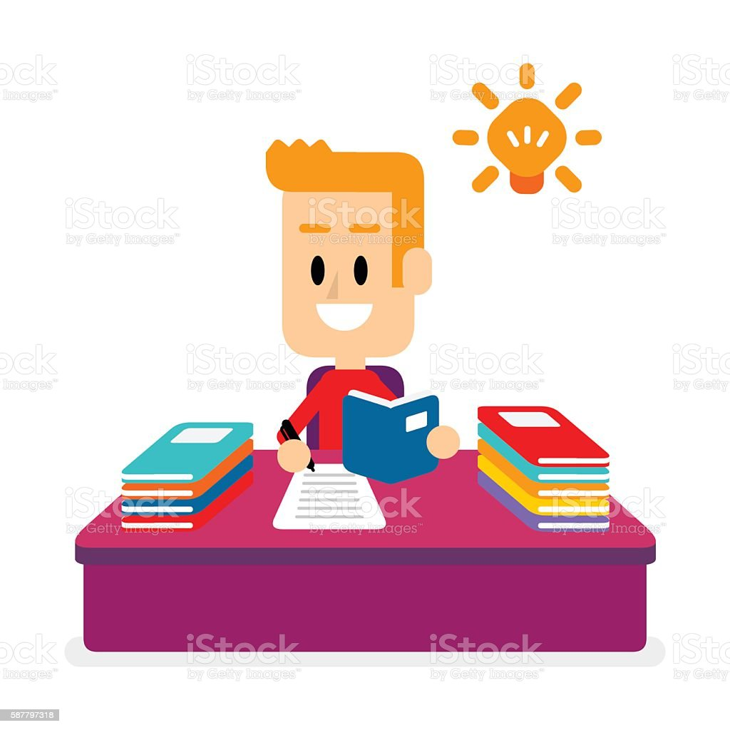 Boy Studying, Doing His Homework vector art illustration