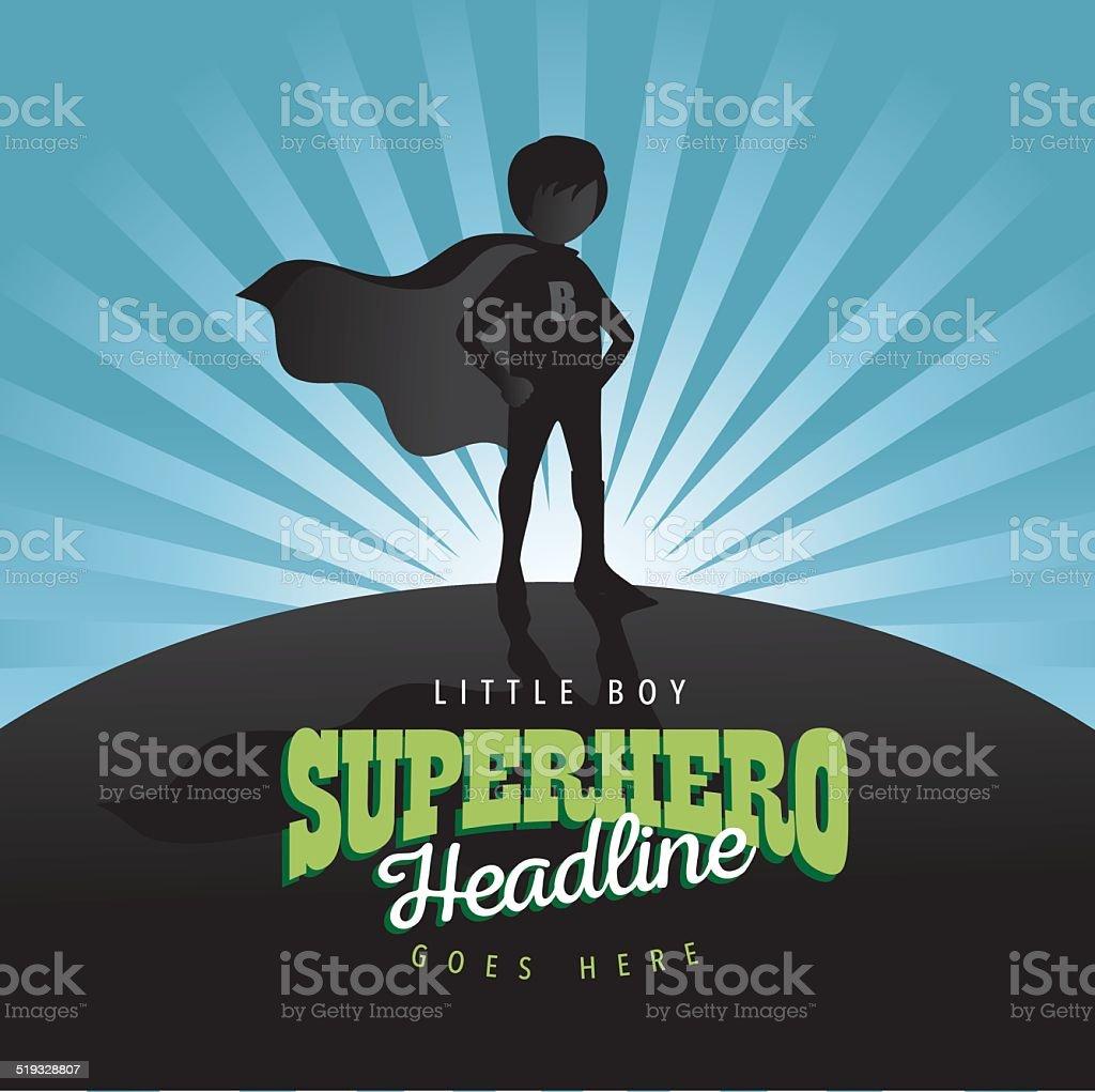 Boy super hero burst background vector art illustration