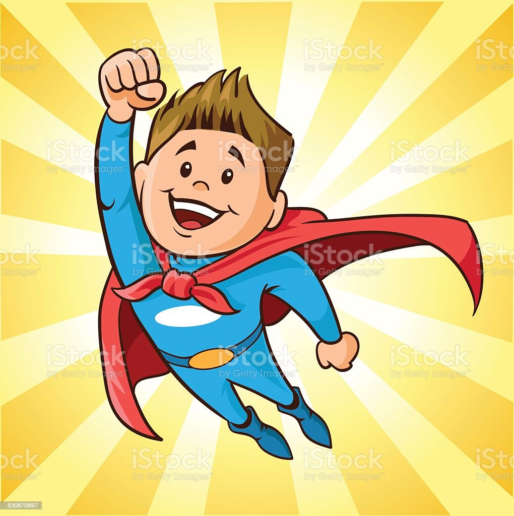Boy Super Hero Flying vector art illustration