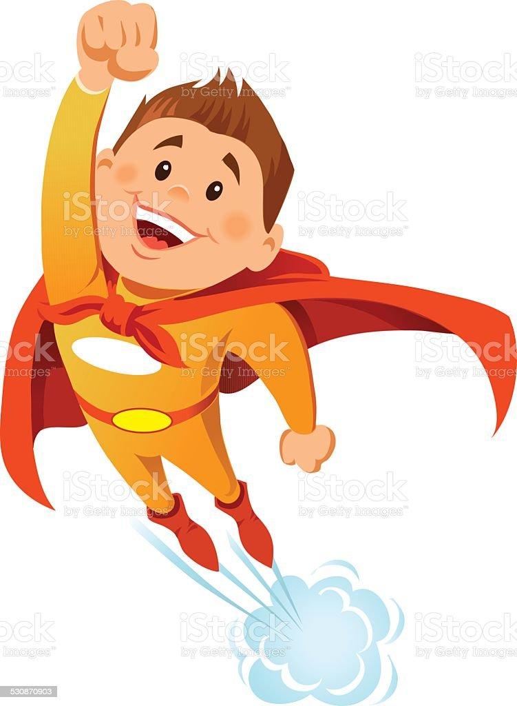Boy Super Hero in Flight vector art illustration