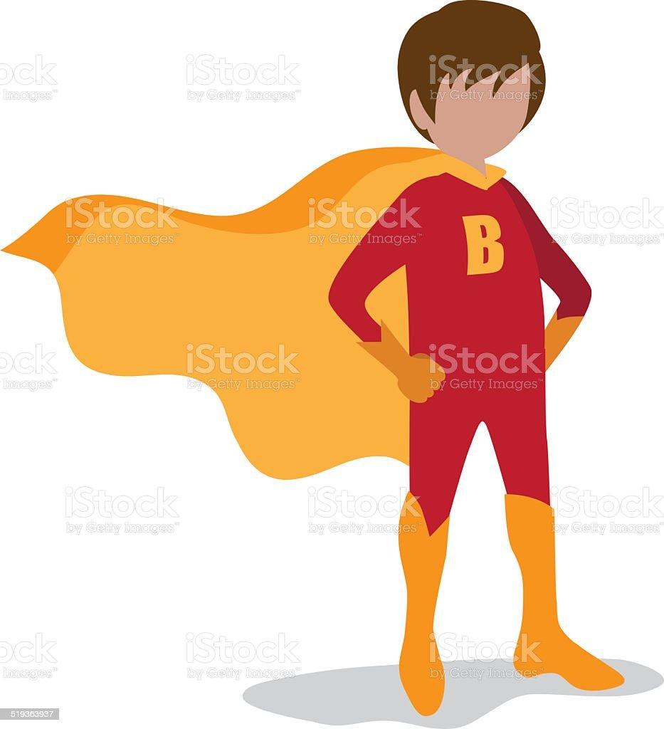 Boy super hero on white vector art illustration