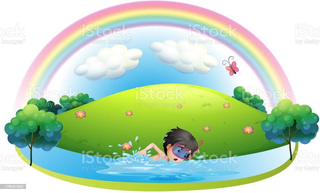 Boy swimming at beach near the hill royalty-free stock vector art