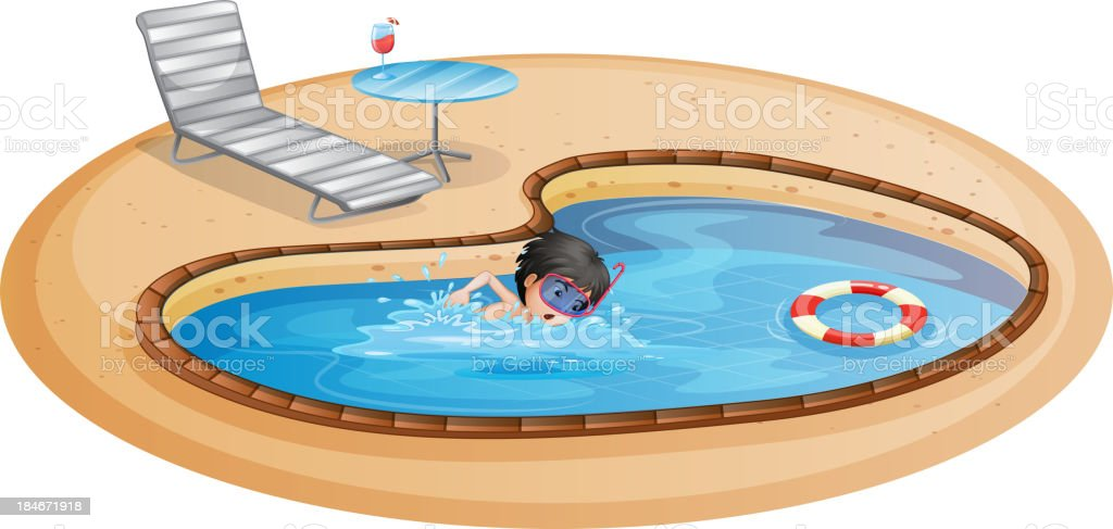 boy swimming at pool with a beach chair and table royalty-free stock vector art