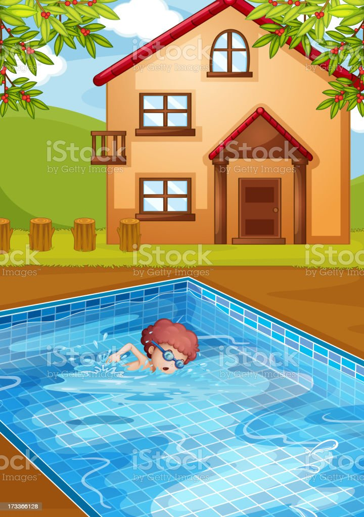 boy swimming at the pool in his backyard royalty-free stock vector art