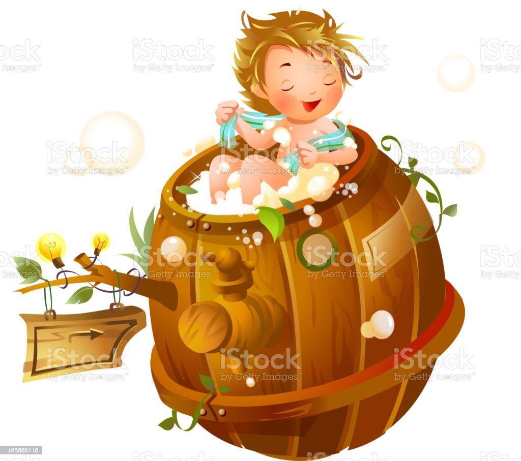 Boy taking a shower in bathtub royalty-free stock vector art