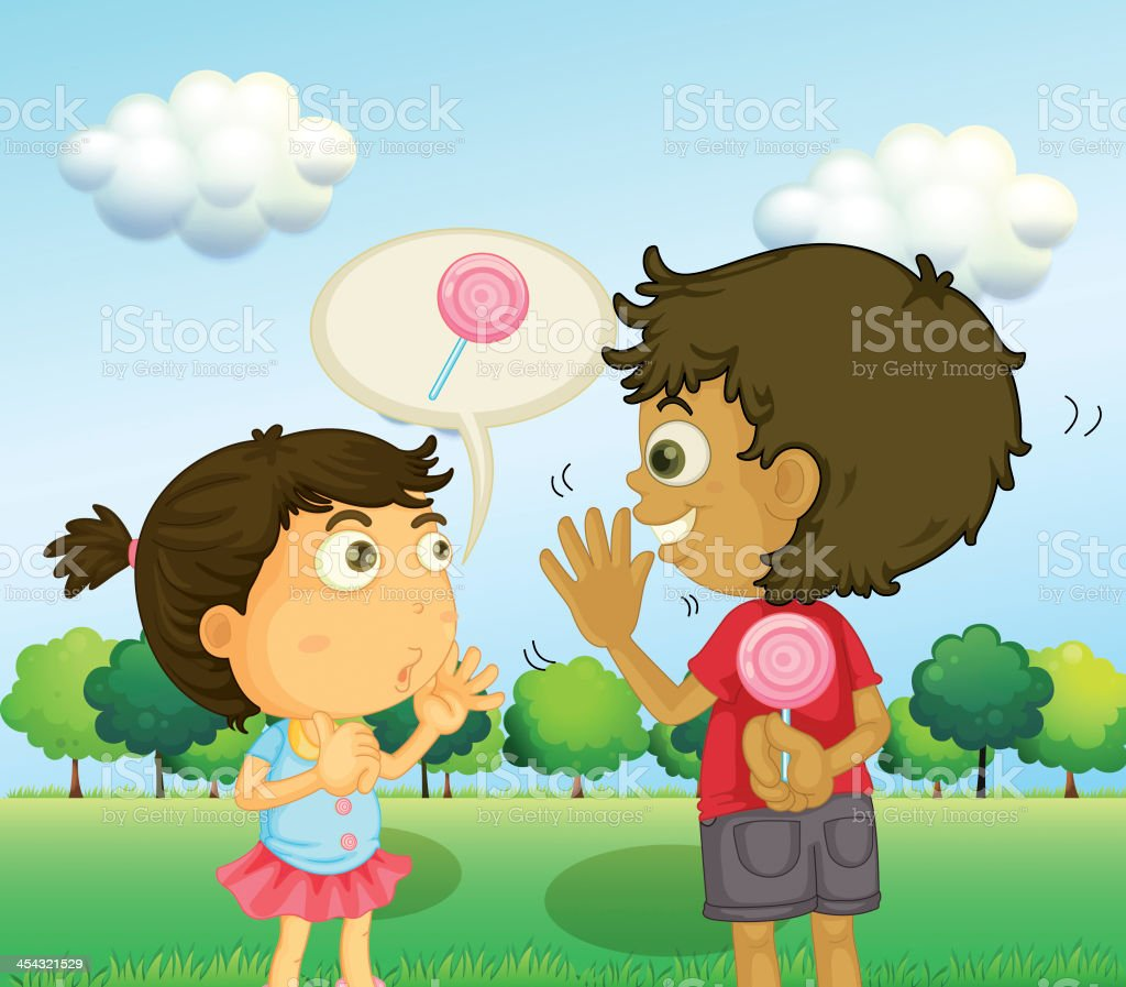 Boy talking to young girl with lollipop at his back royalty-free stock vector art