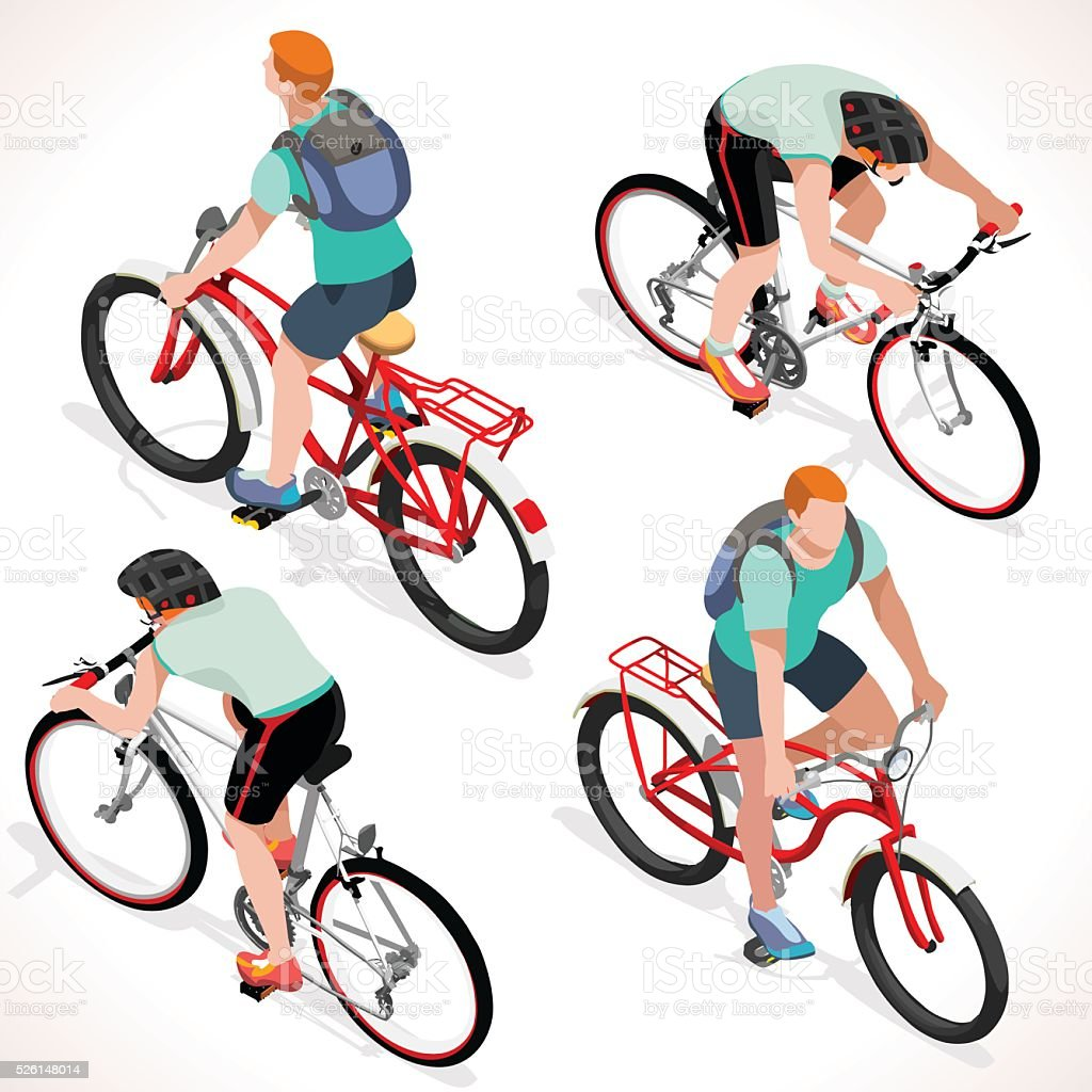 Boy Teen Cycling Isometric People vector art illustration
