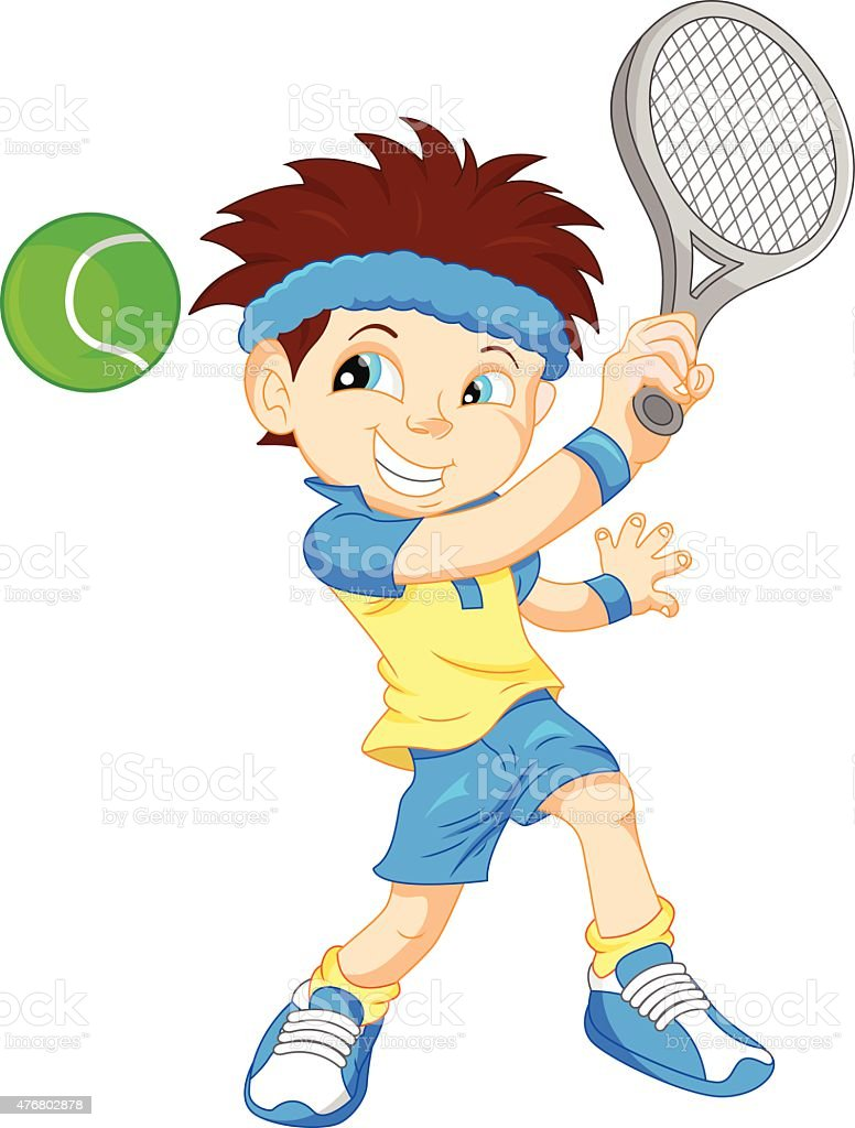 boy tennis player cartoon vector art illustration