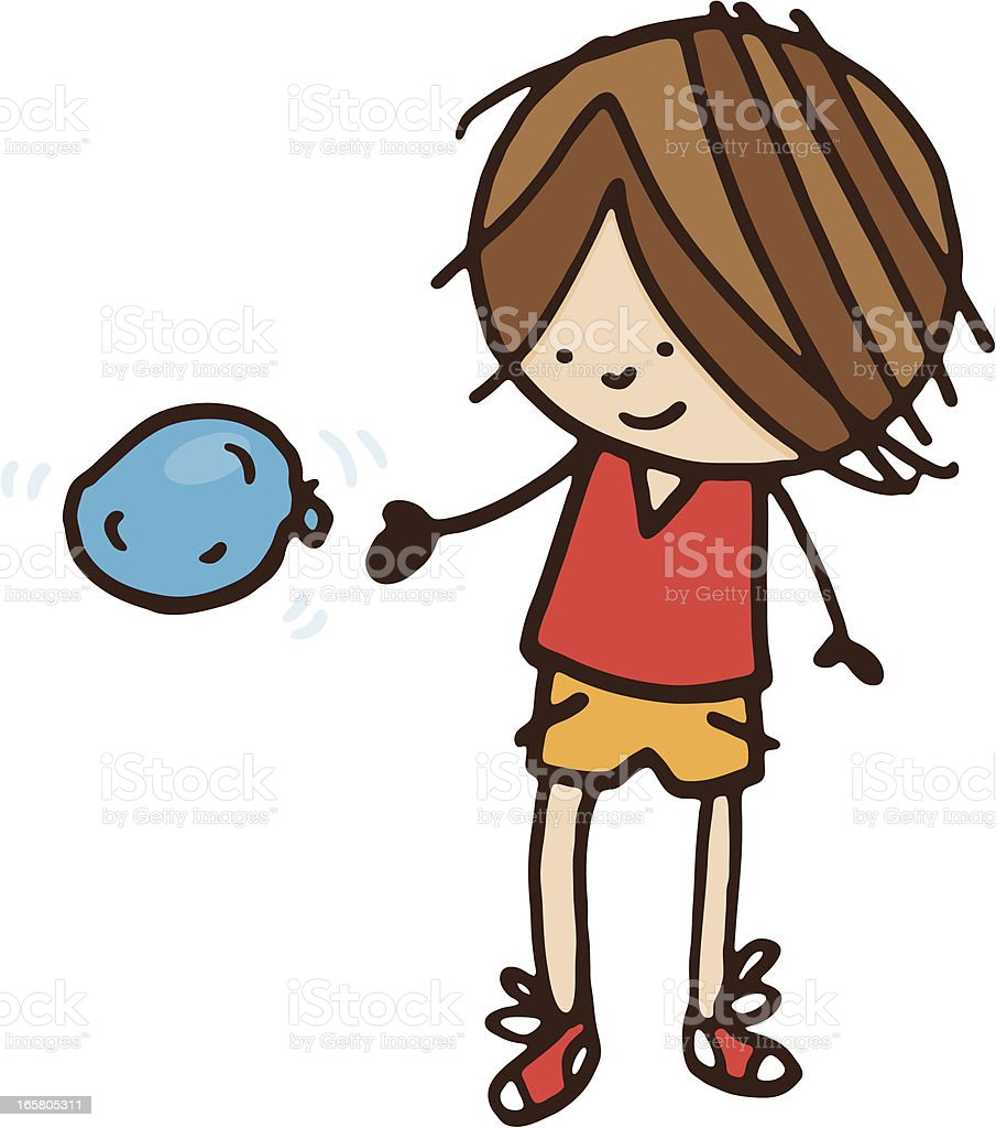 Boy throwing a water balloon vector art illustration