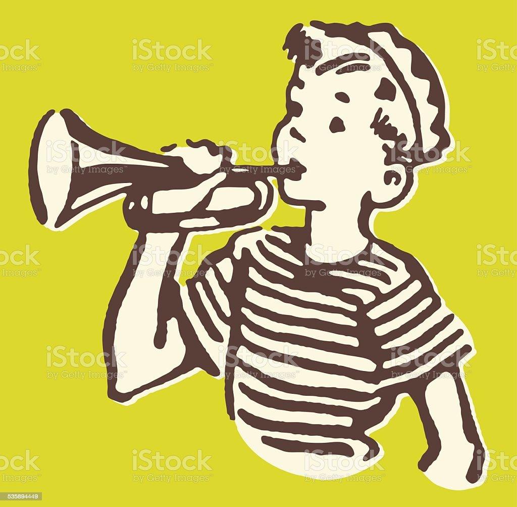 Boy Trumpeter vector art illustration