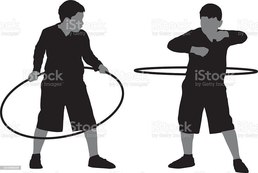 Boy Using Hula Hoop vector art illustration