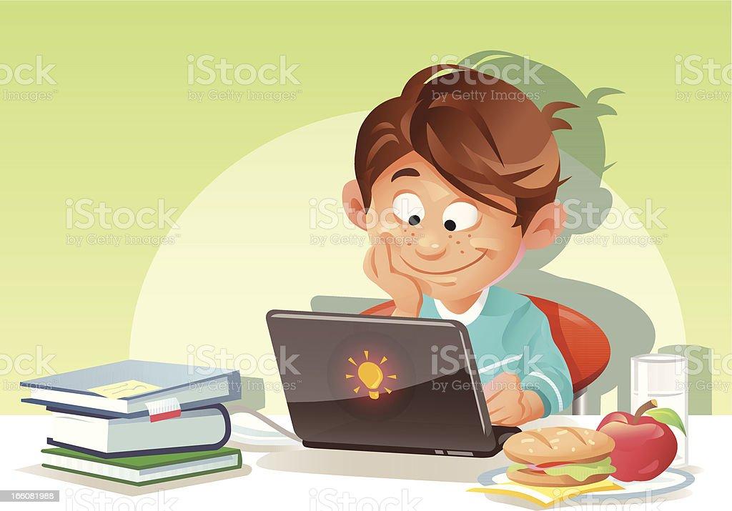 Boy Using Laptop royalty-free stock vector art