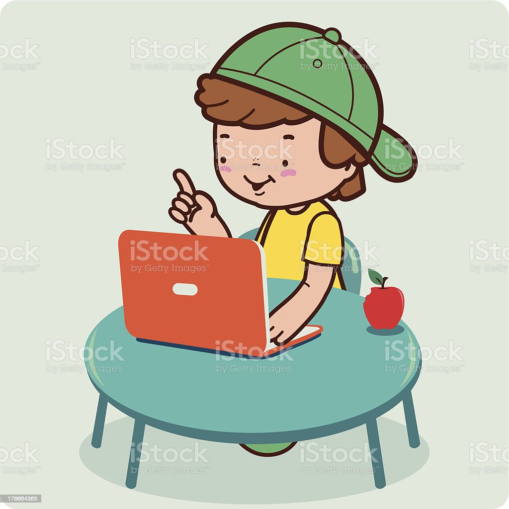 Boy using the computer royalty-free stock vector art