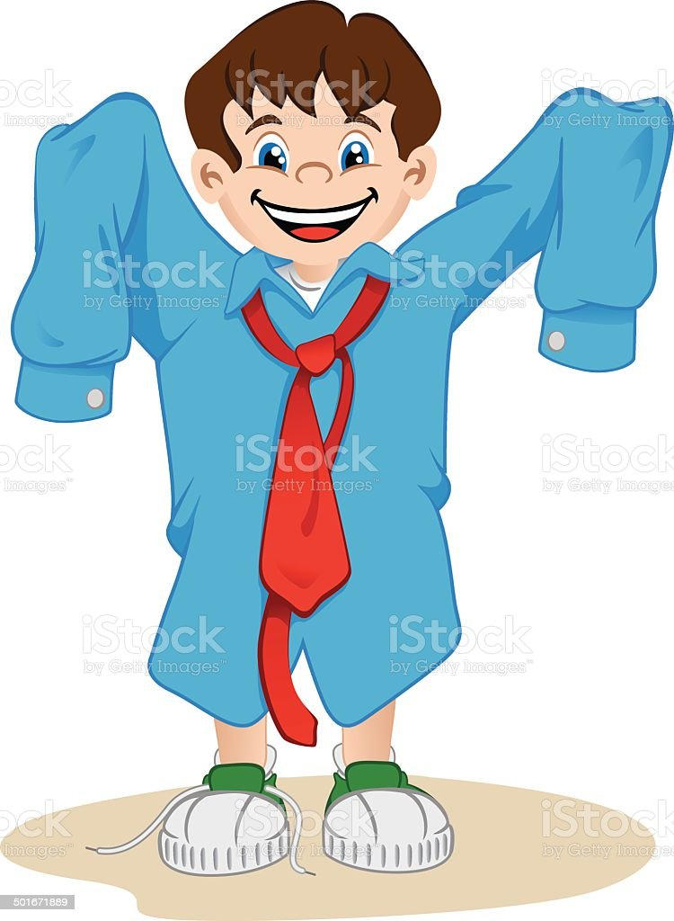 Boy using the father's shirt royalty-free stock vector art