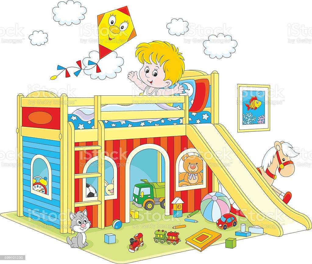Boy waking up in his bedroom vector art illustration