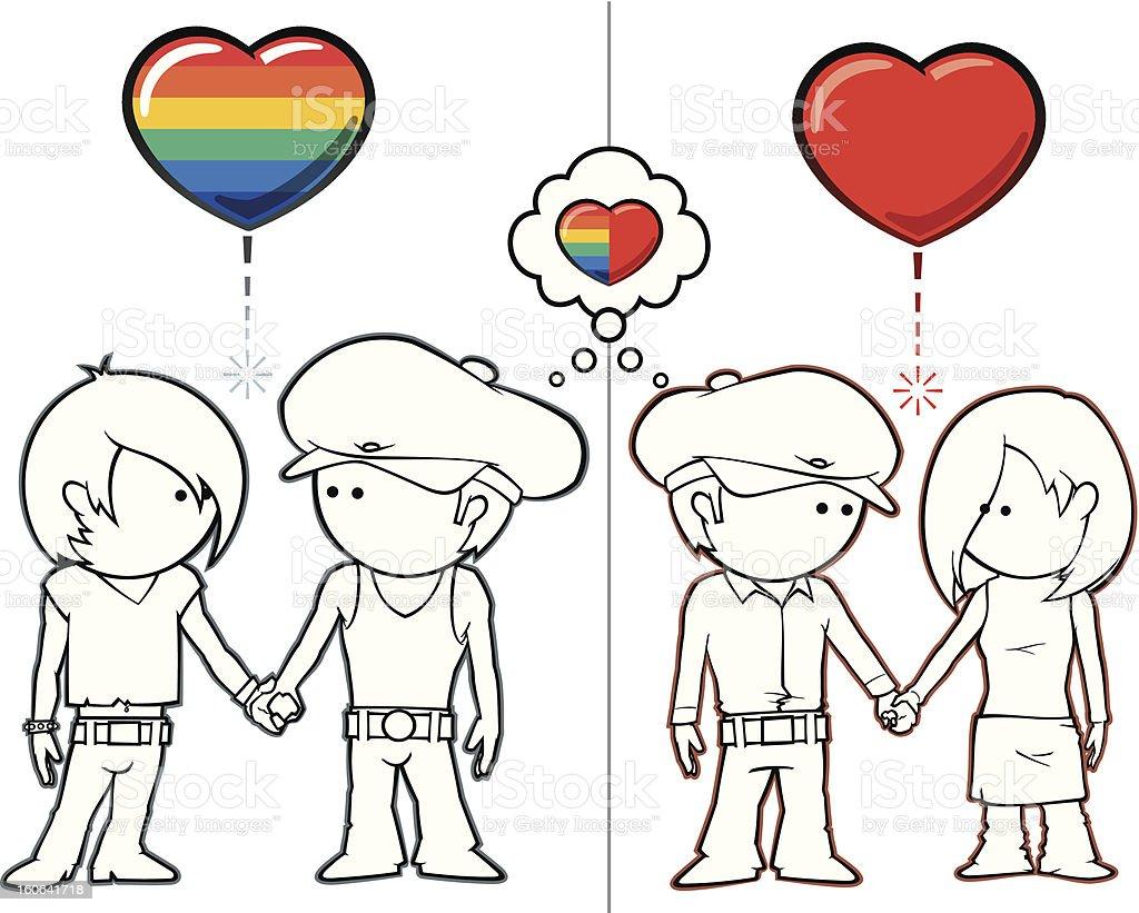 Boy Want Girls & Boys vector art illustration