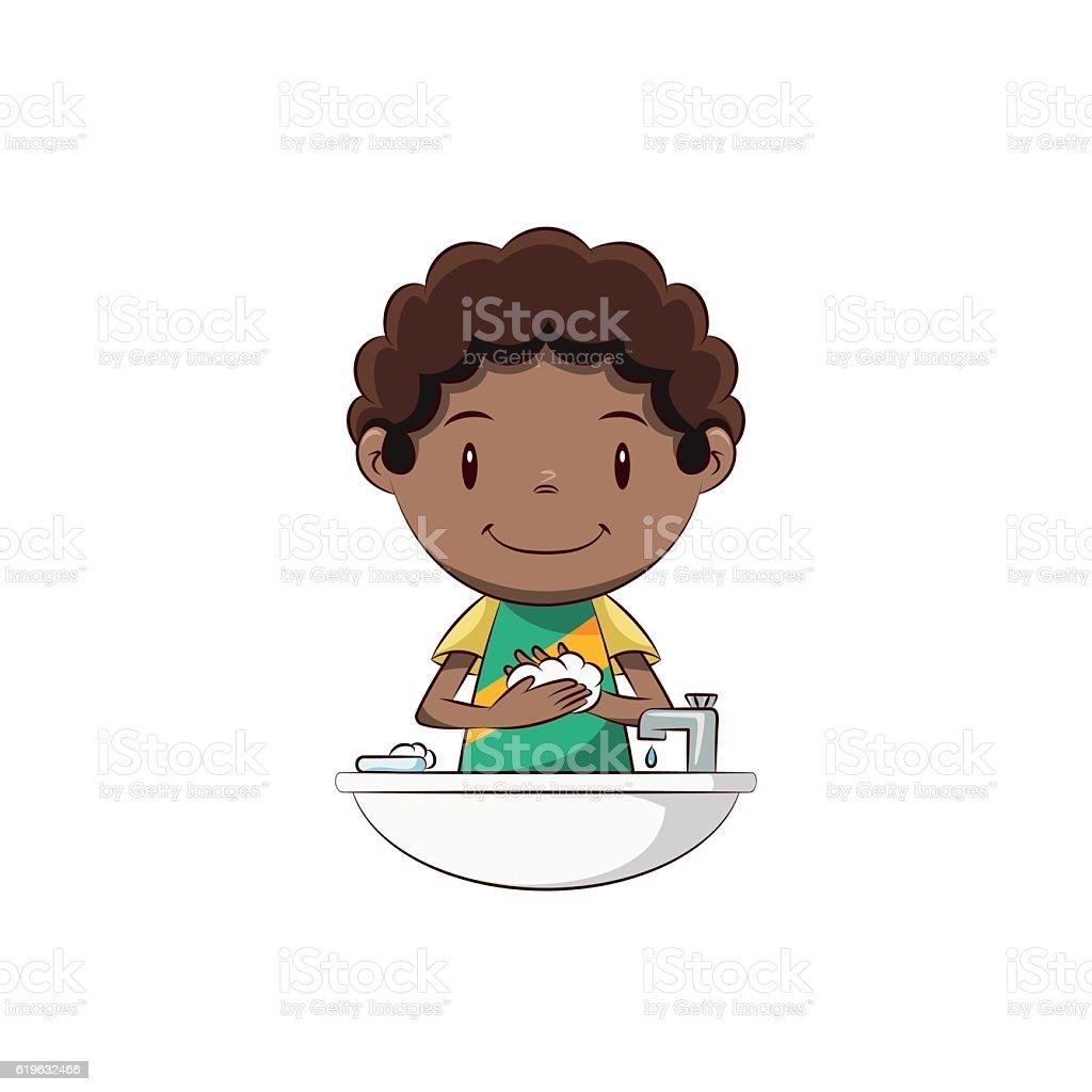 Boy washing hands vector art illustration