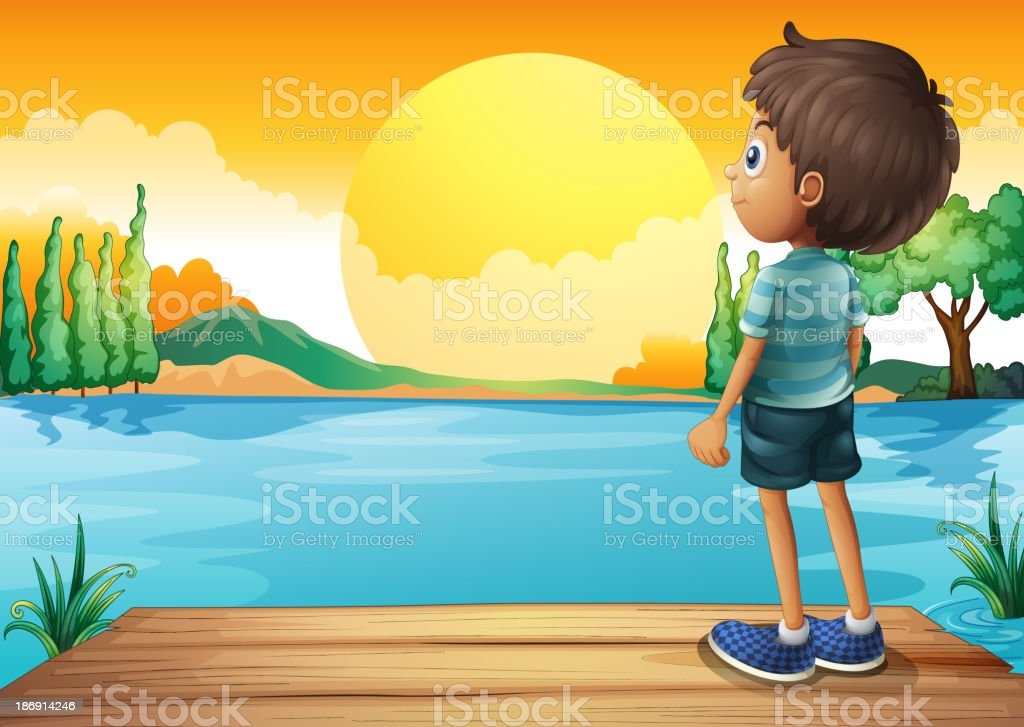 boy watching the sunset royalty-free stock vector art
