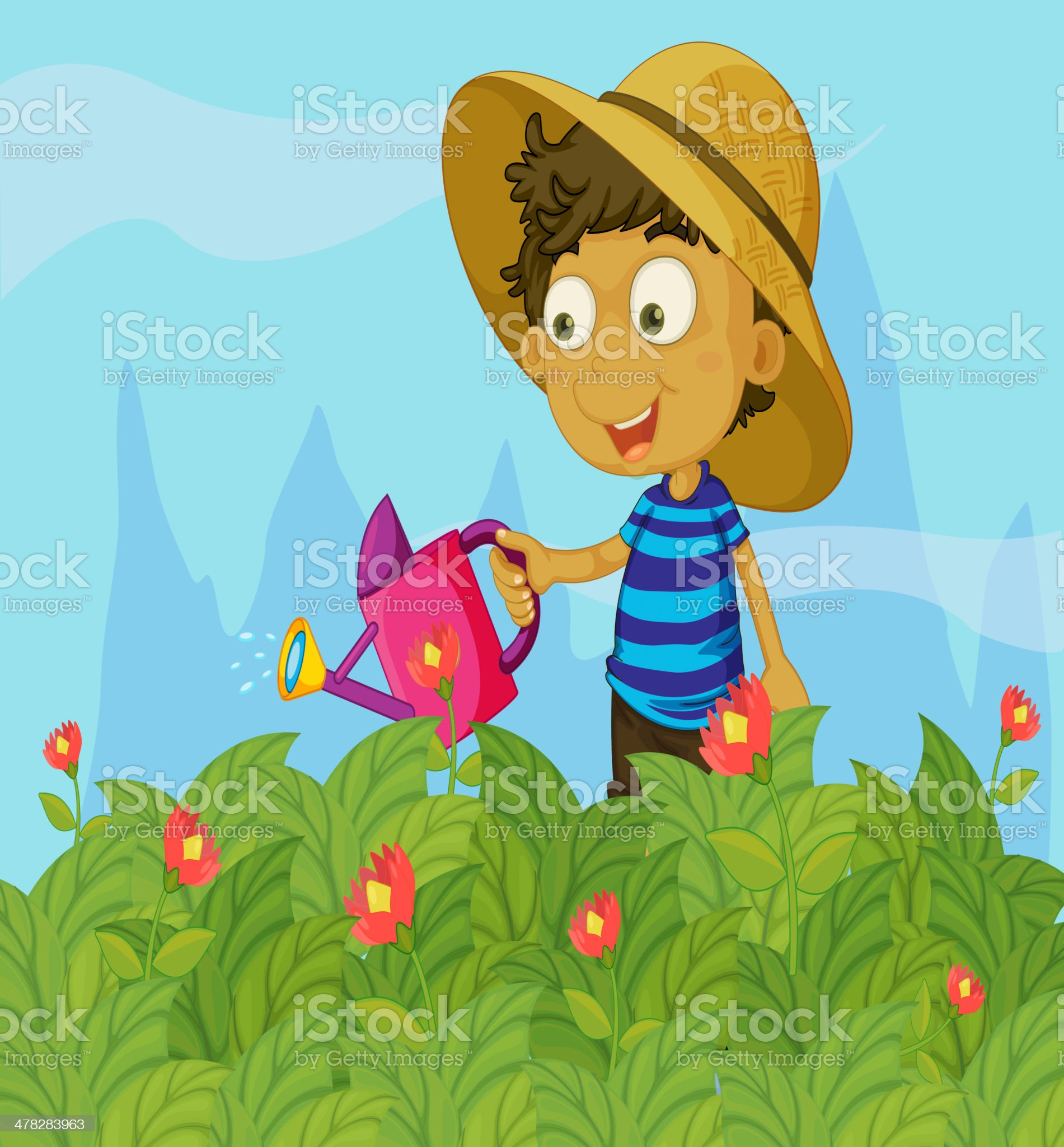 boy watering the plants in a garden royalty-free stock vector art