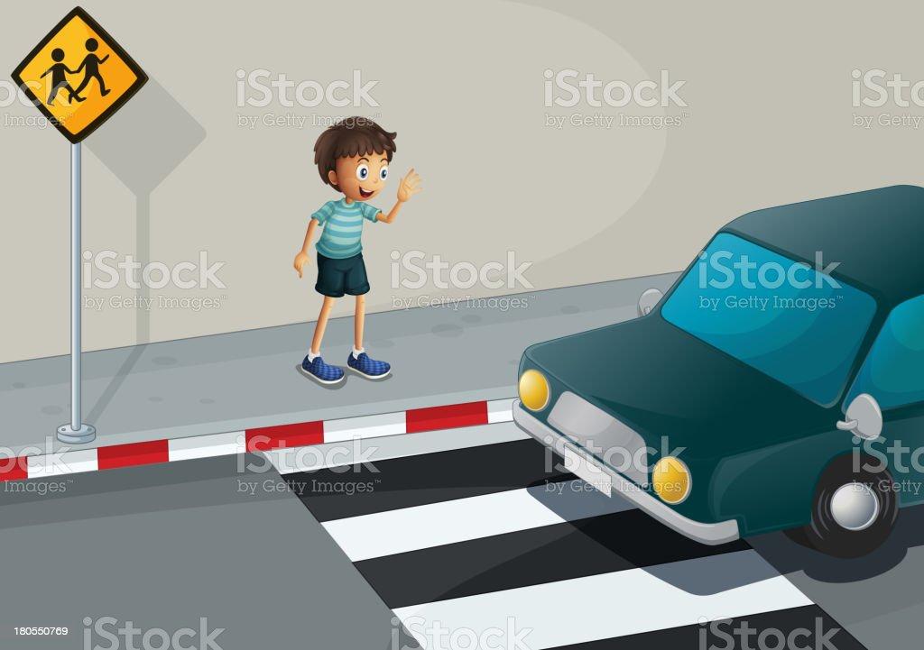 boy waving at the car royalty-free stock vector art