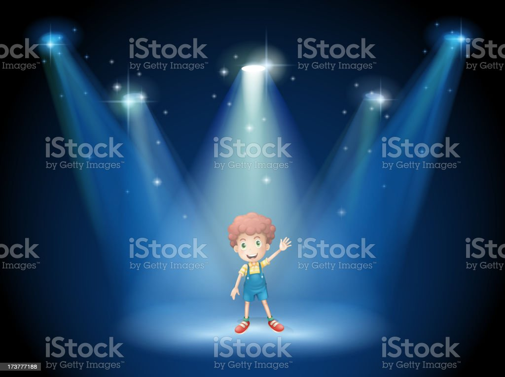 boy waving his hand at the stage with spotlights vector art illustration