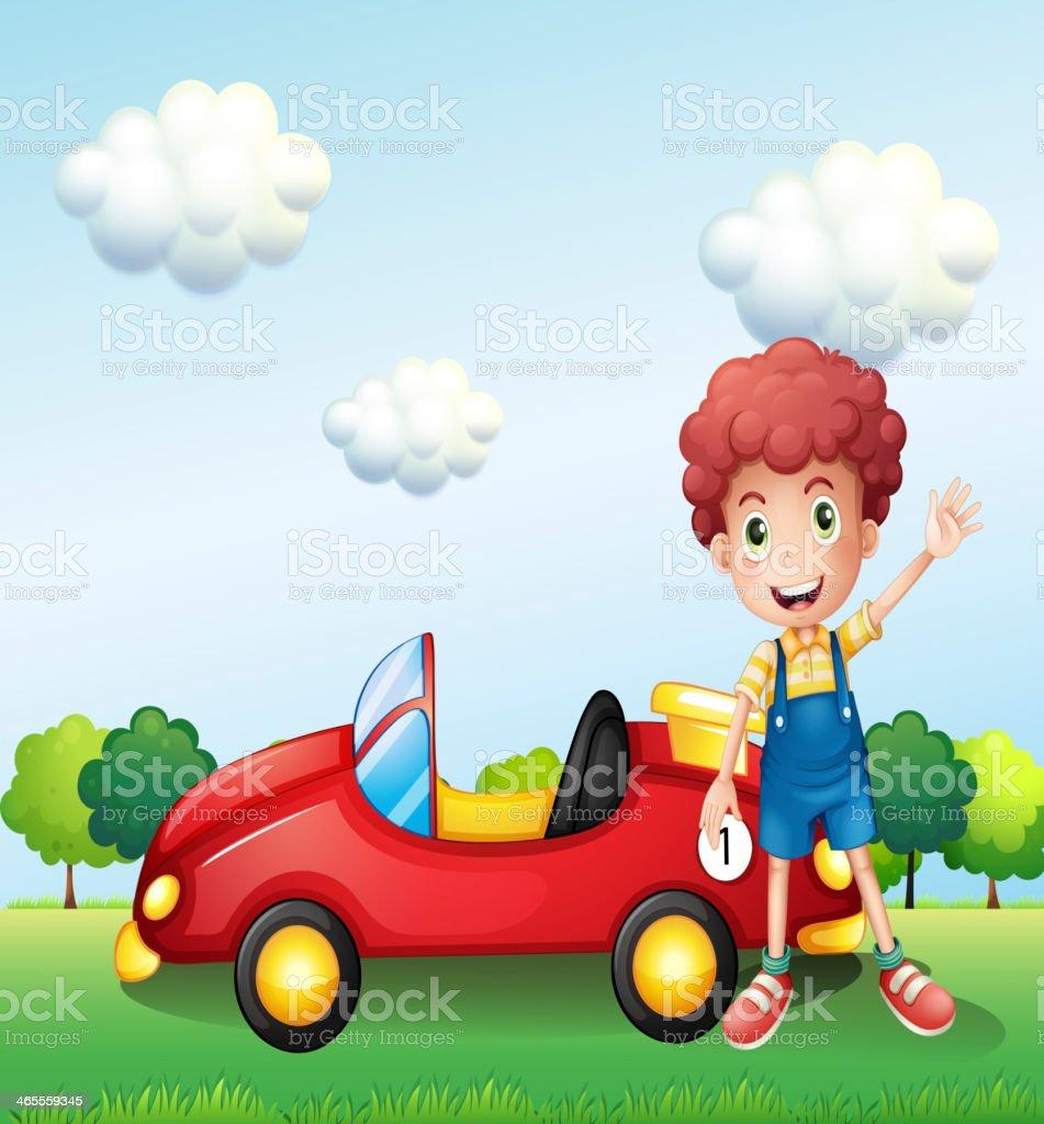 Boy waving his hand beside a car royalty-free stock vector art