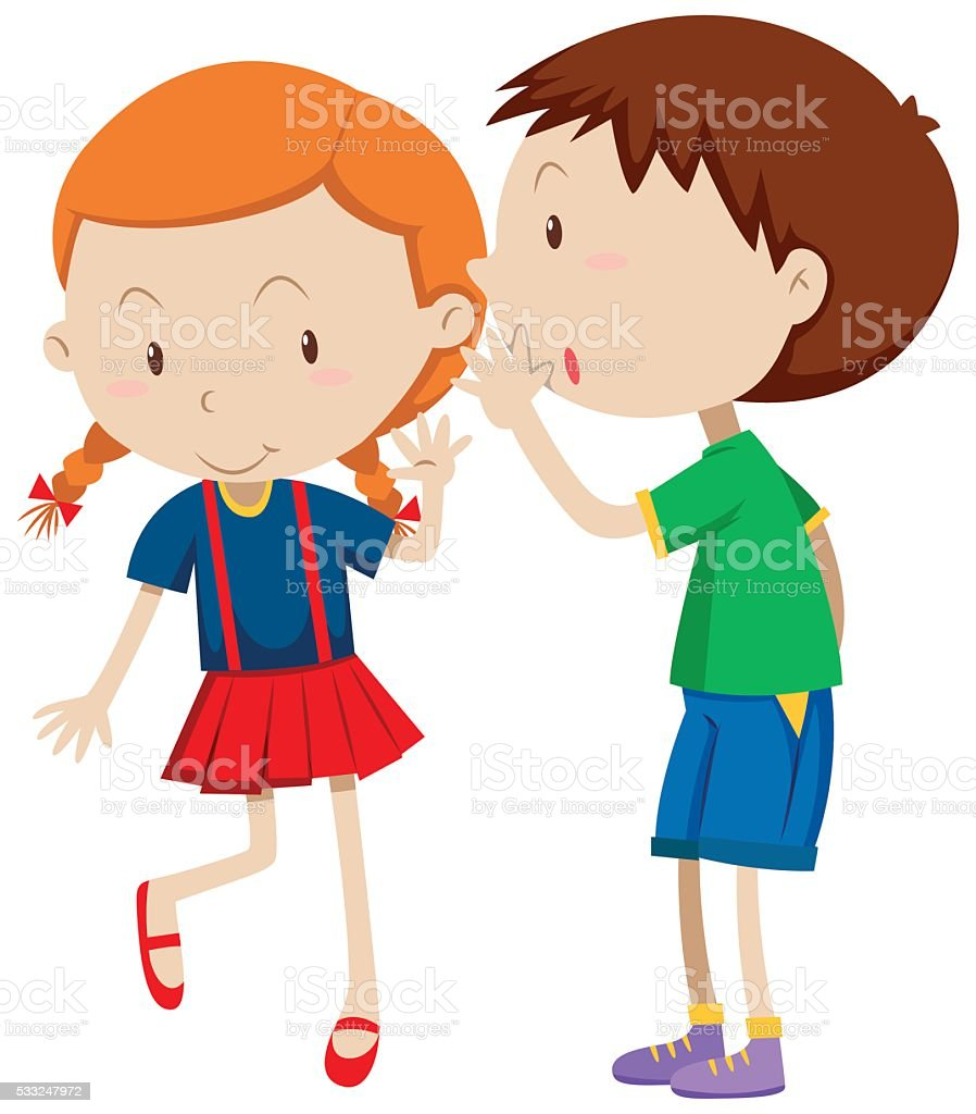 Boy whispering to the girl vector art illustration