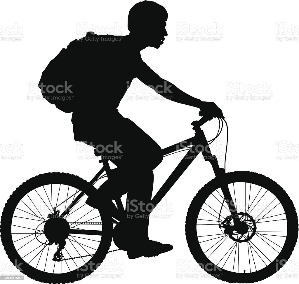 boy with a bicycle vector art illustration