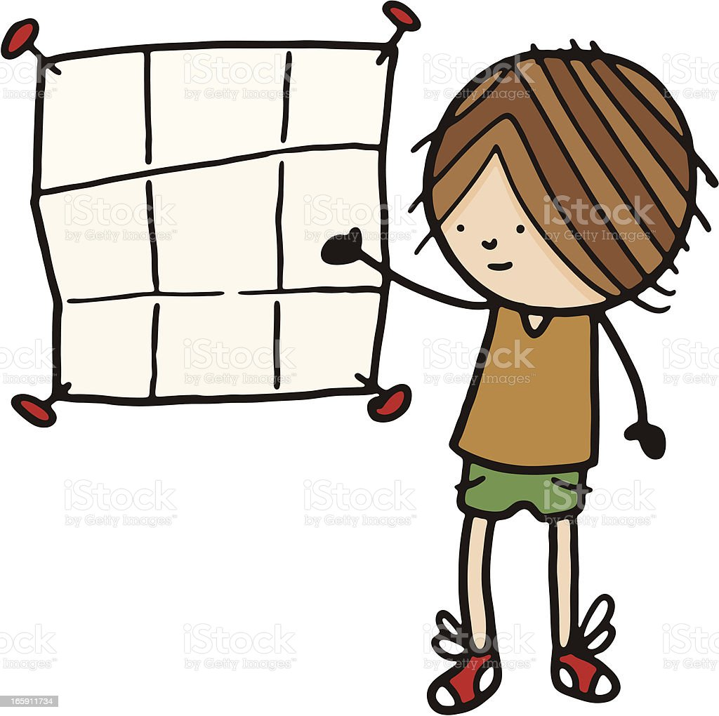 Boy with a blank poster pinned to the wall royalty-free stock vector art