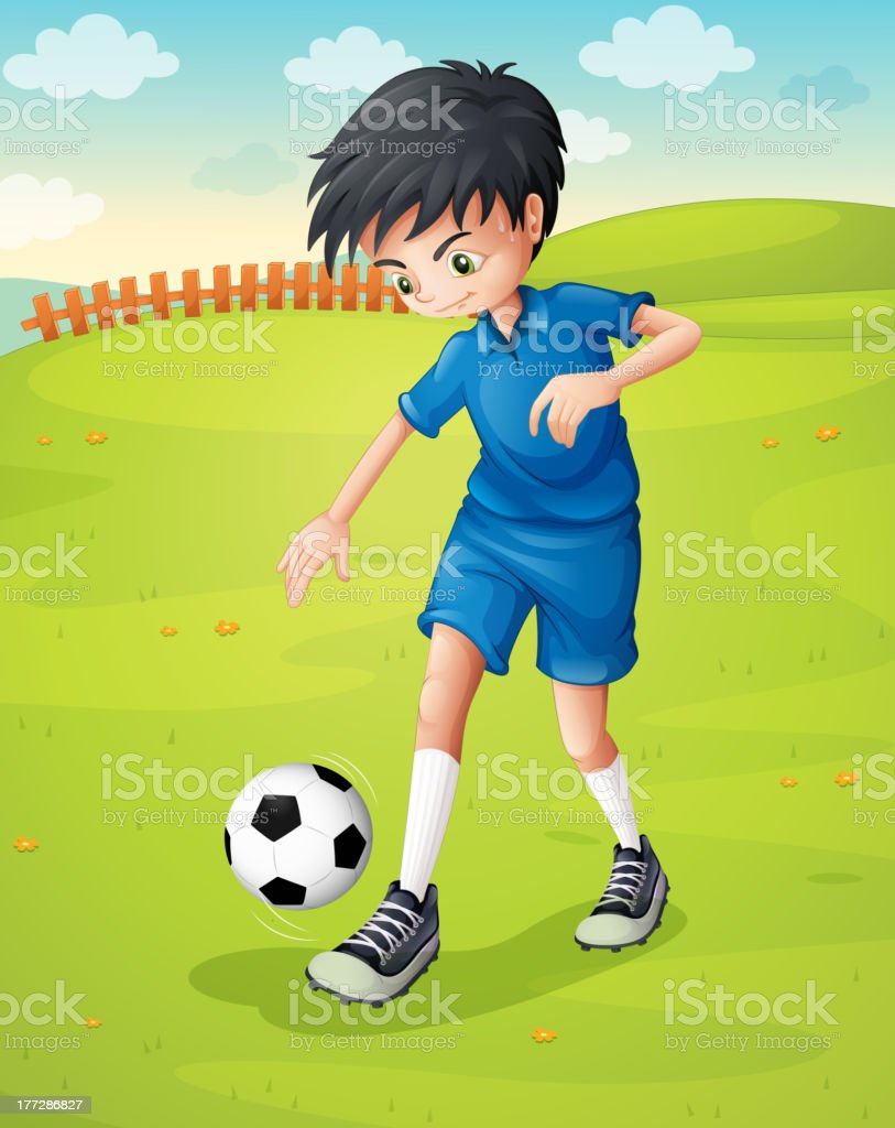 boy with a blue uniform practicing at the hillside royalty-free stock vector art