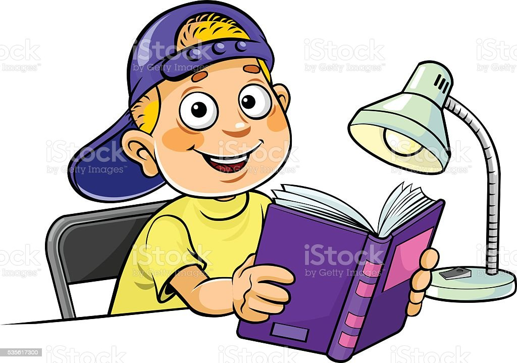 Boy with a book vector art illustration