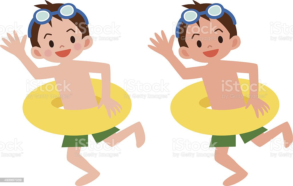 Boy with a float vector art illustration