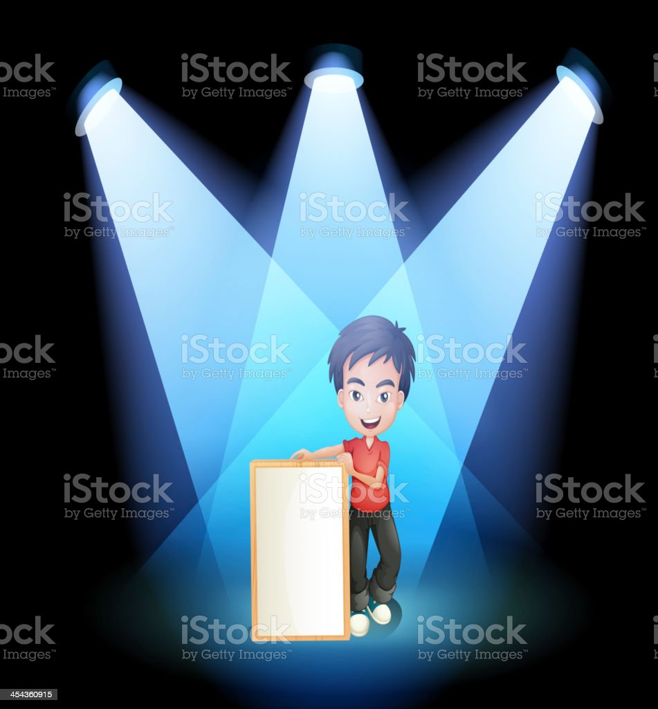 boy with a framed signage at the stage royalty-free stock vector art