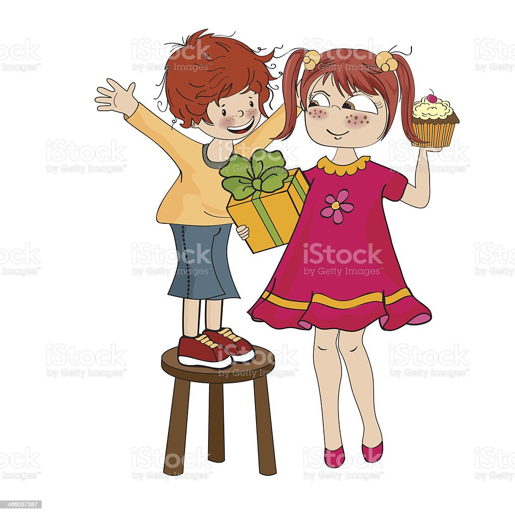 boy with a funny little girl celebrates his birthday vector art illustration