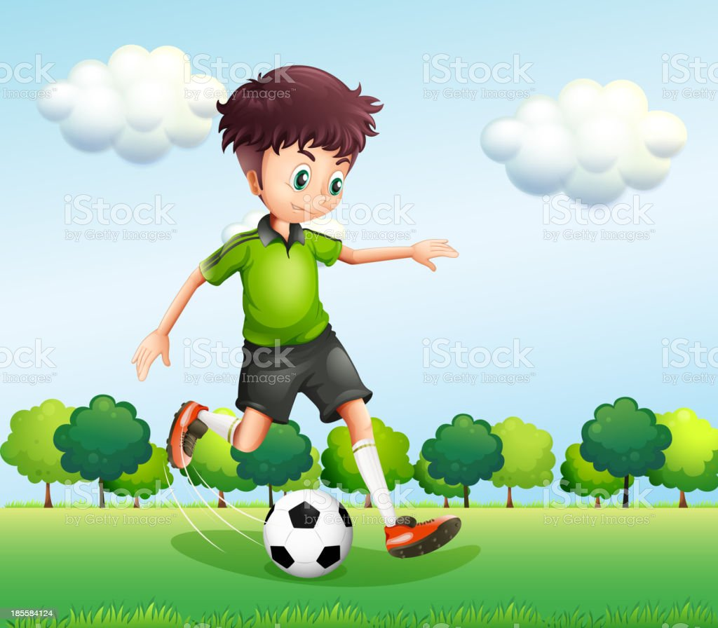 boy with a green t-shirt playing football royalty-free stock vector art