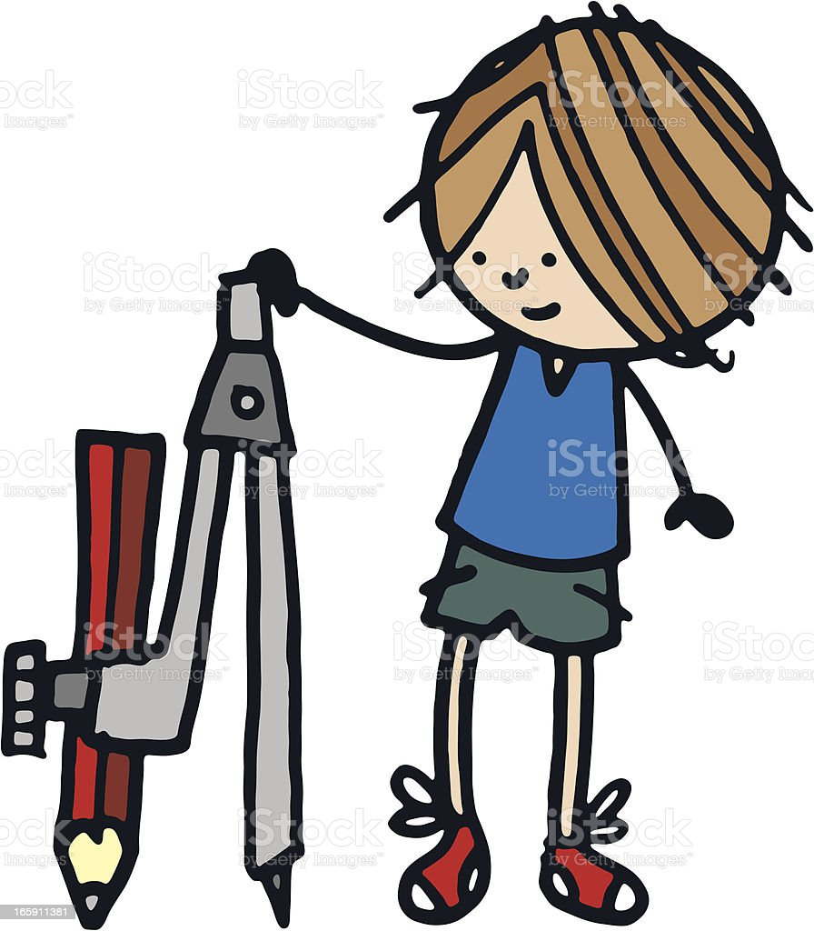 Boy with a large set of compasses royalty-free stock vector art