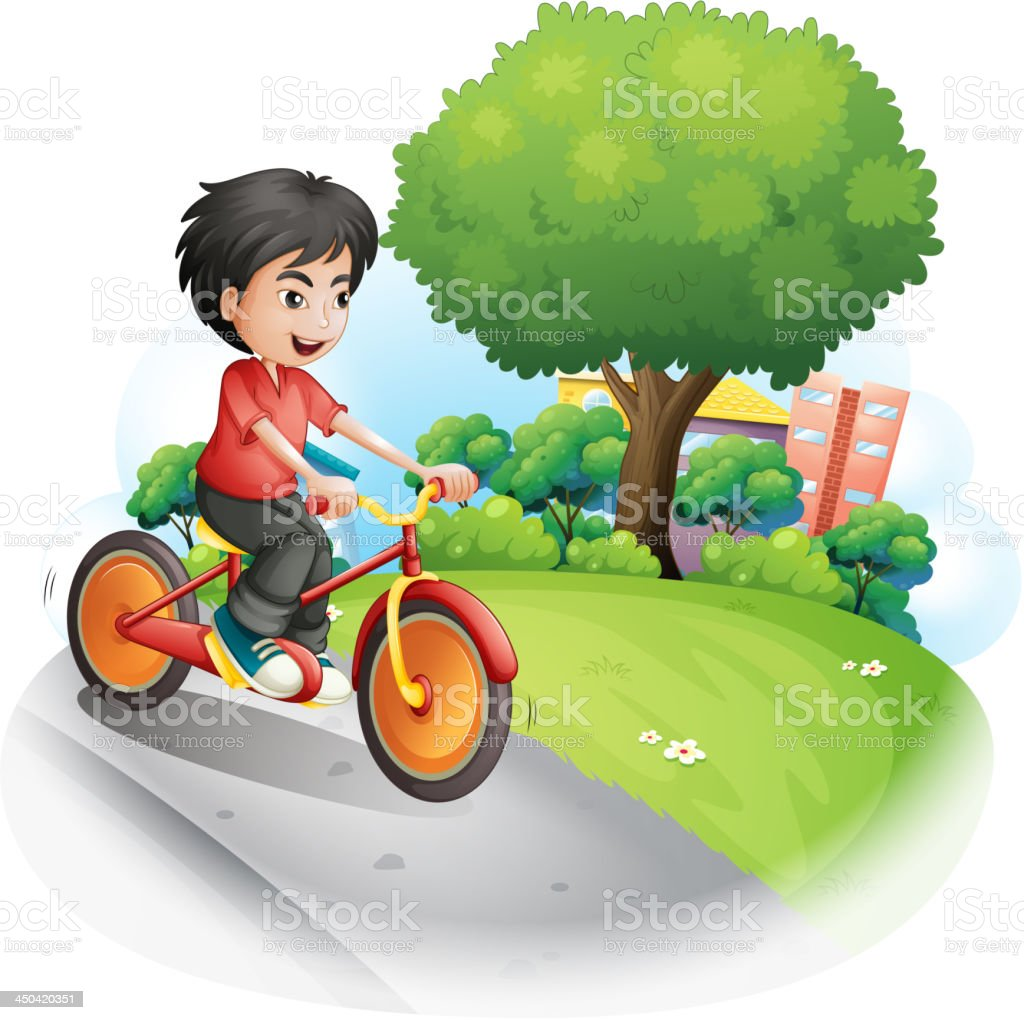 boy with a red shirt biking royalty-free stock vector art