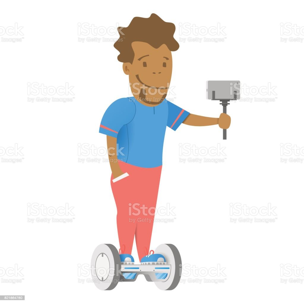 A boy with a selfie stick and smartphone. vector art illustration