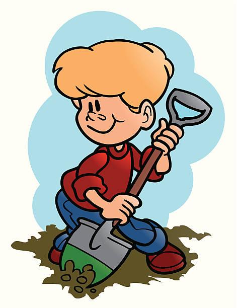 Boy Digging Hole Clip Art, Vector Images & Illustrations