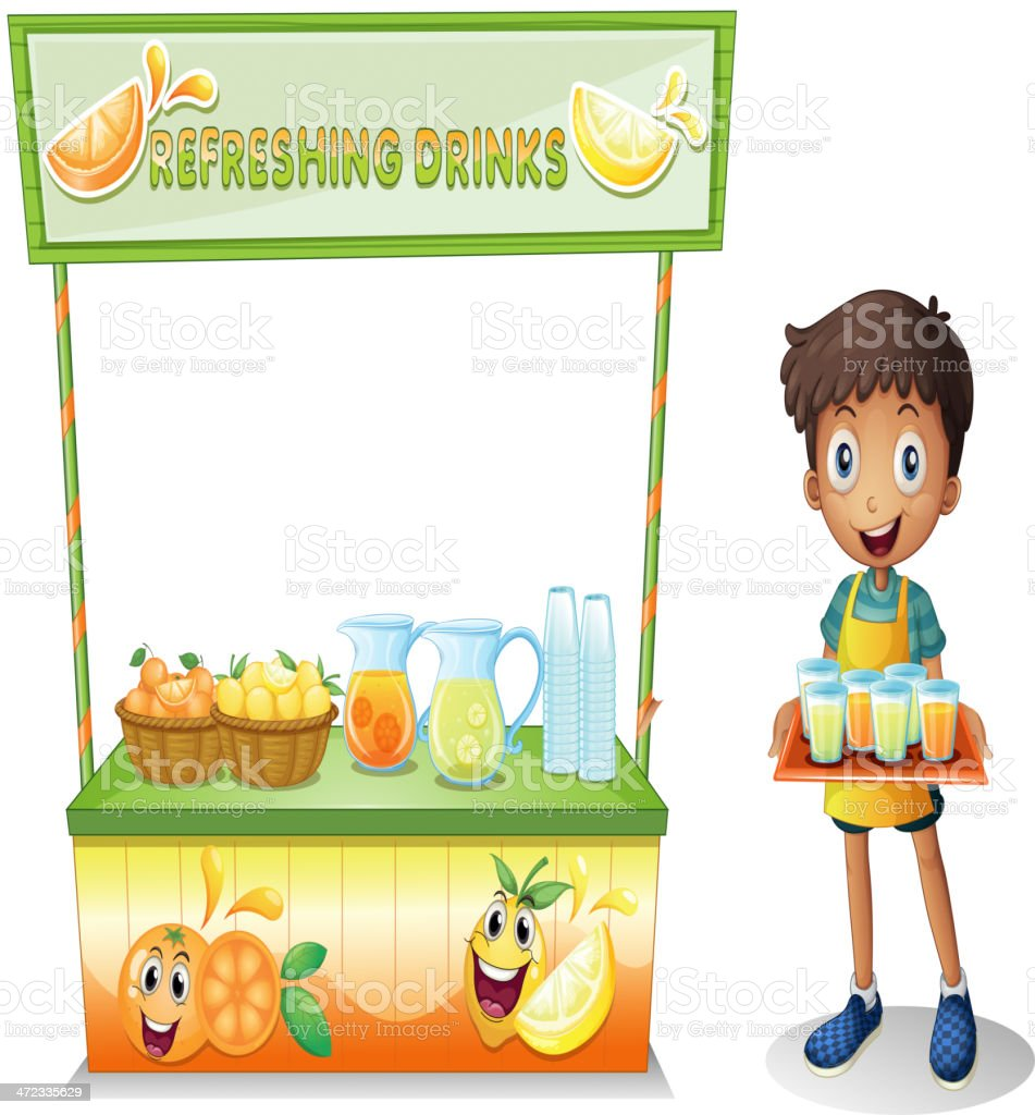 Boy with a stall of refreshing drinks royalty-free stock vector art