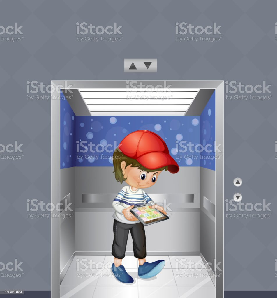 boy with a tablet inside the elevator royalty-free stock vector art