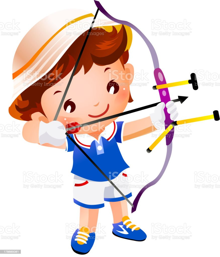 Boy with a toy bow and arrow top royalty-free stock vector art