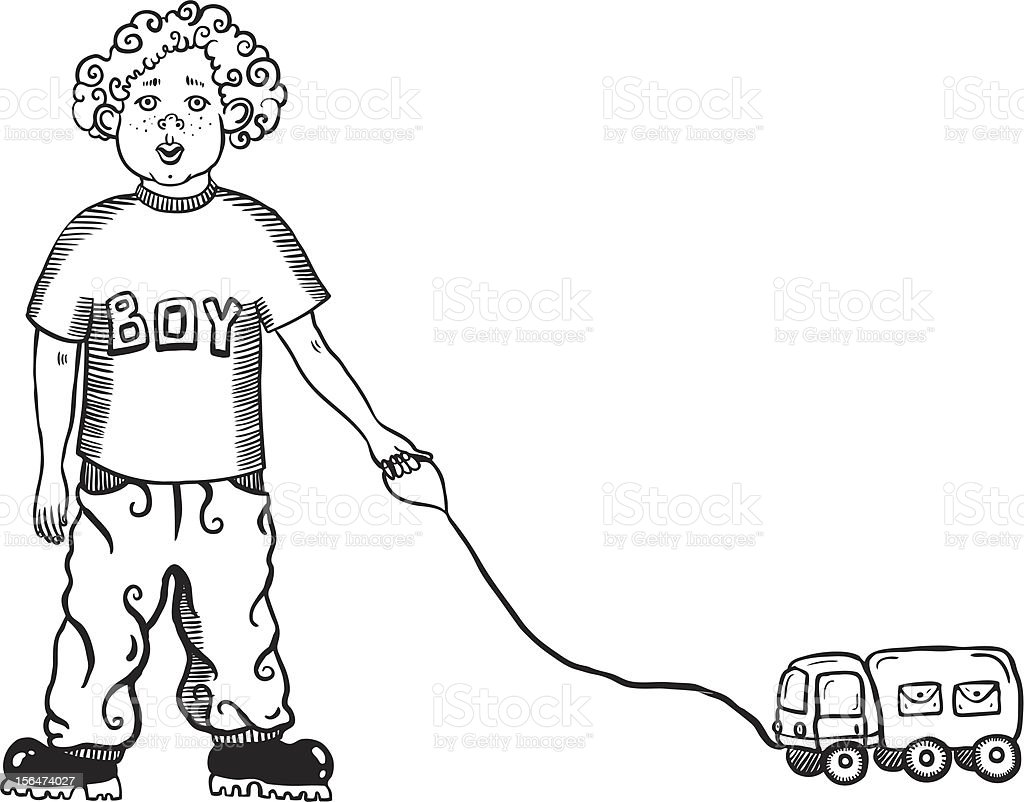 boy with a toy car royalty-free stock vector art